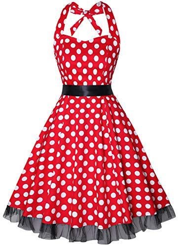 oten Damen 1950er Vintage Kleider Schulterfrei Blumen Country Rockabilly Neckholder Cocktail Swing Tee Kleid, Roter Weißer Tupfen, M