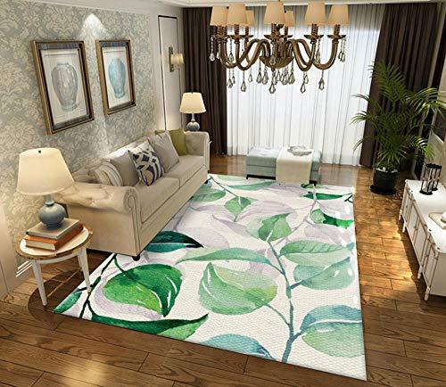 YQZS moderne anti-slip kamer tapijten afdrukken en verven groene bladeren salontafel slaapkamer tapijt huis grote tapijt mat 80X120cm(31X47inch)
