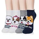 Kikiya Socks 4 Pairs of Women's Cute Ankle Socks Happy Puppy - Dog Graphic Print Cute Fun Doggy Adorable Animal Painting Stripe Cool Funny Soft Warm Short Low Quarter Ladies Female Girl Power Lover -  POPCORN&KIKI Inc.