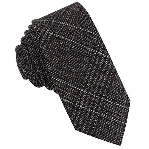 GASSANI Tweed Woll-Krawatte Kariert, Schmale Dünne Flanell Herren-Krawatte Wolle Baumwolle Twill, Schoko-Braune Dunkel-Braune Schwarze Weisse Karos