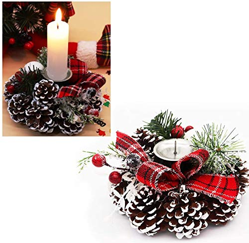 Christmas Candle Holder, Frosted Pine Cone Candle Rings with Candlestick Decorative Red Berries Burlap Bow, Holiday Candlelight Stand for Xmas Dining Room Decoration Display Home Decor