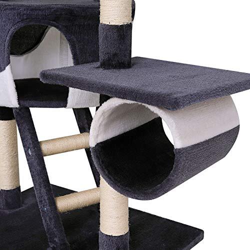 Katzenkratzbaum, Kratzbaum für Katzen, deckenhoch (höhenverstellbar mit Deckenspanner) 240-260 cm (grau / weiß) - 5