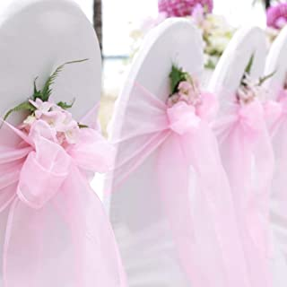 BIT.FLY 25 Pcs Organza Chair Sashes for Wedding Banquet Party Decoration Chair Bows Ties Chair Cover Bands Event Supplies - Light Pink