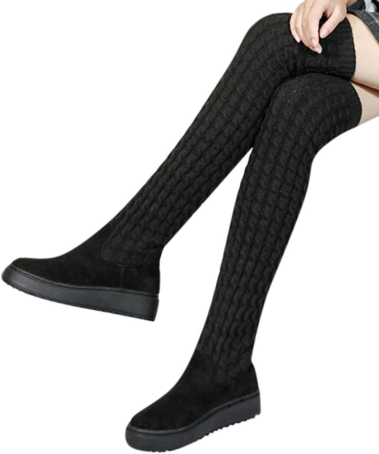 Fashion Women's Stripe Block Slip-On Round-Toe Thigh shoes Solid color Over-The-Knee Boots Snow Boots