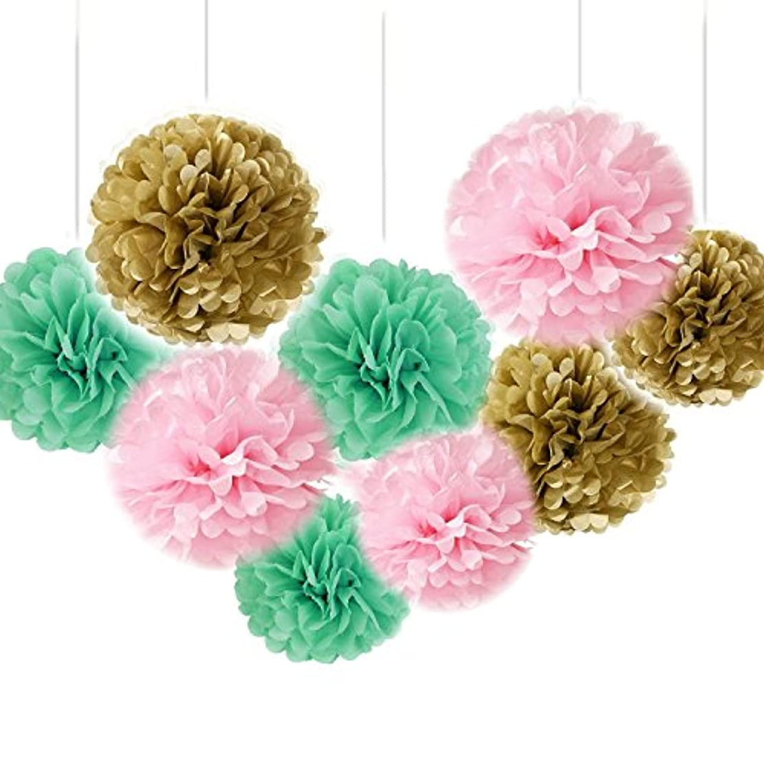 Fascola Set of 9 Gold Pink Mint Tissue Paper Pompoms Wedding Flower Birthday Bridal Shower Party Decoration