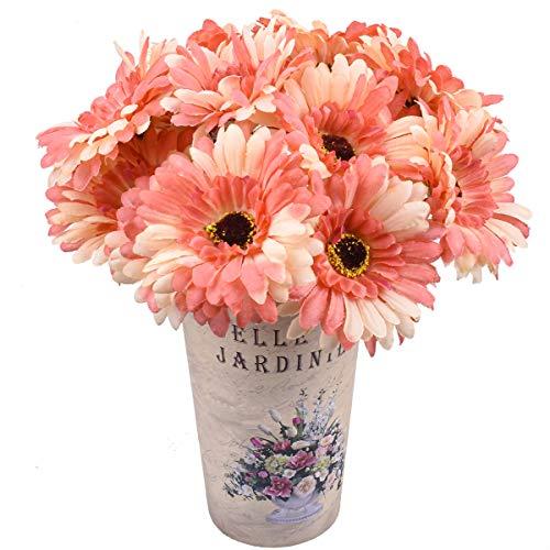 15 Piezas de Flores de Margaritas de Seda Artificial Flores de Gerbera Falsas Ramo de Novia para el...