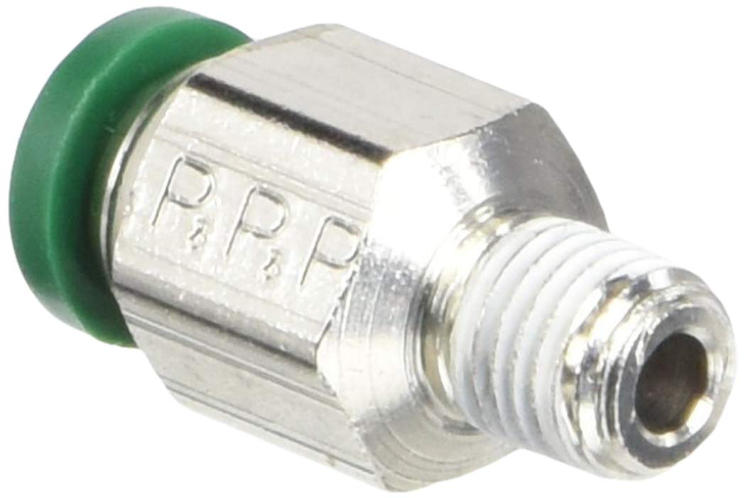 Nickel Plated Brass Tube to Pipe 1//4 Push-to-Connect and UNF Round Body Connector Parker 68LFR-4-0-pk5 Push-to-Connect Nickel Plated Instant Fitting 10-32 Pack of 5