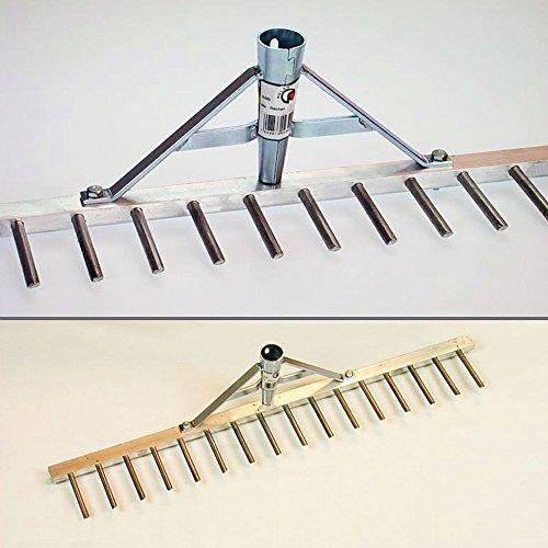 Polar 2320 Aluminium Rechen Land Rasenrechen Bauern-Harke 60 cm 16 Zinken 7cm