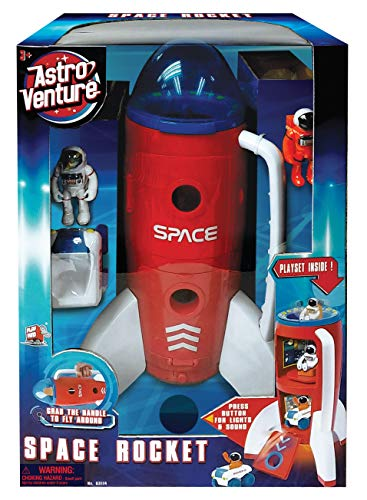 Astro Venture Spaceship Rocket Toy Playset with 2 Astronauts and Rover Vehicle - Lights and Sound Effects, Plus Carrying Handle for Blasting to The Moon and Flying Back - Play and Explore Space Toys