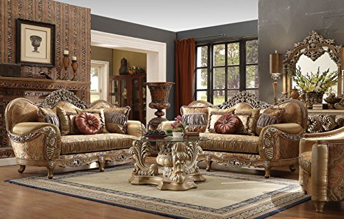 Inland Empire Furniture Pasquale Formal Wood Trim Sofa, Love Seat and Chair Set