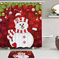 WOTAKA シャワーカーテン バスマット 2点セット スノーマンクリスマスボールスノーフレーククリスマス 自家 寮用 ホテル 間仕切り 浴室 バスルーム 風呂カーテン 足ふきマット 遮光 防水 おしゃれ 12個リング付き