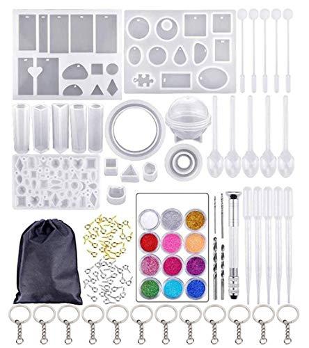 107 Piezas Kit de Molde de Fundición de Resina con Llaveros y Bolsa de Almacenamiento DIY Silicona Moldes de Joyería para Hacer Artesanías de Joyería DIY