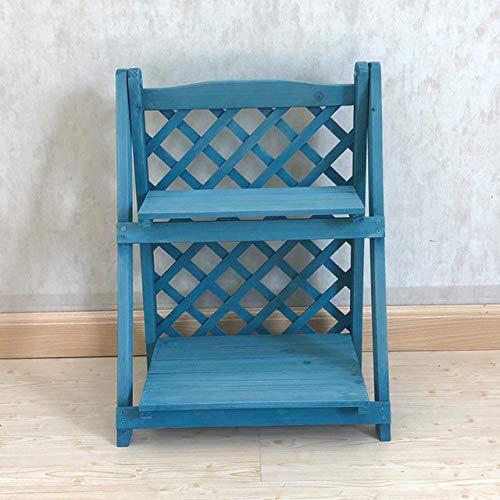 LGFSG Blumenregal 2 Schichten Pflanzenständer Holzleiter Regal Fäulnisfester Holz Pflanzenständer Faltbares Bücherregal Blumenregal, L blau