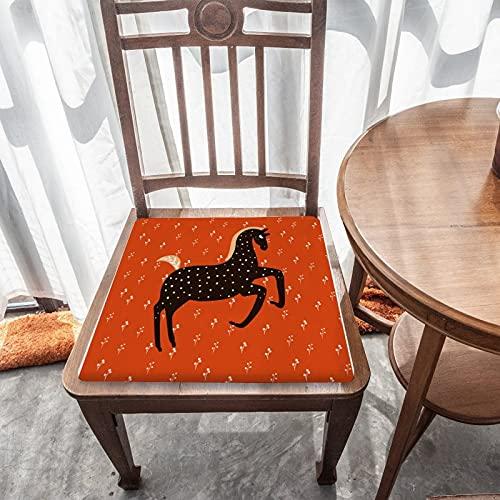 Cojín de asiento extraíble para decoración del hogar duradero para exteriores, jardín, patio, cocina, oficina, cojín cuadrado lavable, cómoda funda para silla, diseño de poni nórdico en rojo