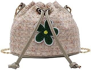 TOOGOO New Korean Women'S Bag Woven Small Bag Fashion Wild Bucket Bag Casual Shoulder Bag Black