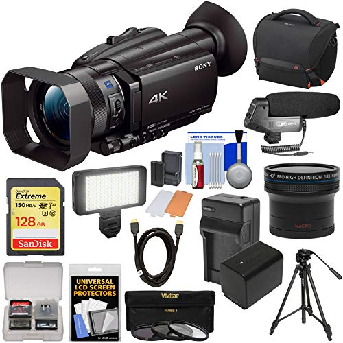 Review Sony Handycam FDR-AX700 4K HD Video Camera Camcorder with 128GB Card + Battery + Case + LED L...