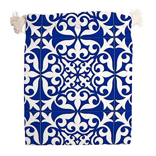 Usting Trekkoord receptacle tas, trek touw stofdichte cover tas, handtas voor kleine artikelen opslag, Marokkaanse Tegel - Kobalt Blauw