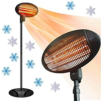 Electric Outdoor Heater - Halogen Patio Heater, Waterproof Space Heater with 3 Power Levels for Patio, 500/1000/1500W, Courtyard, Garage Use, Overheat Protection, Tip-Over Shut Off