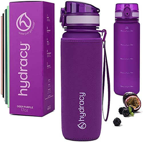 Hydracy Botella de Agua 500 ml con Marcador de Tiempo - Sin BPA con Filtro de Infusión de Frutas - Antigoteo y sin Sudor - Ideal para el Ejercicio y los Deportes al Aire Libre - Púrpura