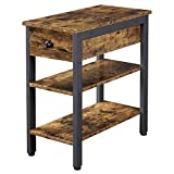 YAHEETECH 3 Tier Narrow End Table with Drawer & Storage for Living Room, Retro Sofa Side Table with Open Shelves for Small Space, Wood Look Accent Table with Metal Frame, Rustic Brow