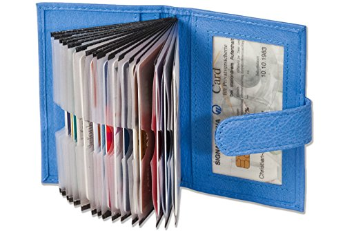 XXL 23 Fächer Kreditkartenetui Kartenetui Visitenkartenetui Blau Leder