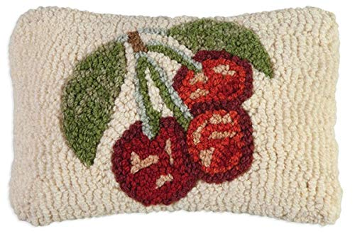 "Chandler 4 Corners Artist-Designed Cherries Hand-Hooked Wool Decorative Petite Throw Pillow (8"" x 12"")"