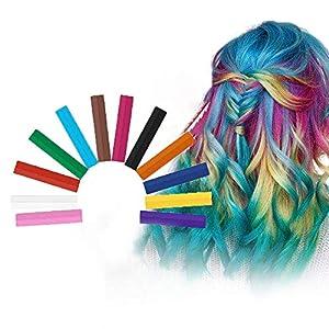 Hair Chalk, Tiza De Pelo, Cabello Tiza, Color de cabello lavable, Tinte de cabello lavable no tóxico, Para fiesta de teñido de cabello para niños, Cosplay - 12 colores