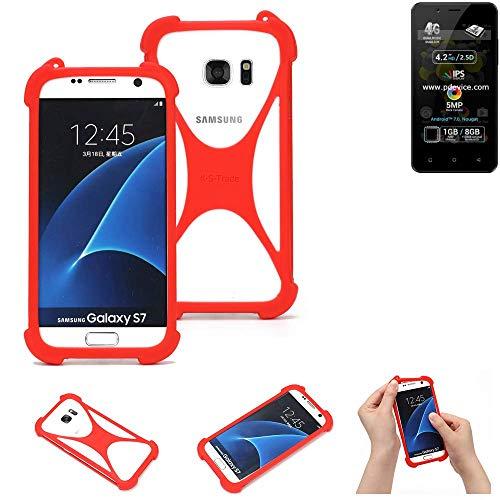 K-S-Trade® Handyhülle Für Allview P4 Pro Schutzhülle Bumper Silikon Schutz Hülle Cover Case Silikoncase Silikonbumper TPU Softcase Smartphone, Rot (1x)