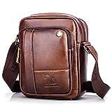 BAIGIO Bolso Bandolera Hombre de Cuero Bolso de Hombro Piel Pequeño Vintage Crossbody Bag Casual (Marrón)