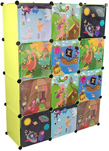 KEKSKRONE Sehr Großer Kinderschrank Bunte Motiv-Türen - DIY Stecksystem - 12 Module je 37 x 37 x 37 cm, Grün | Kinderzimmer-Schrank | Kinderkleiderschrank | Baby-Regal | Spielzeugkommode