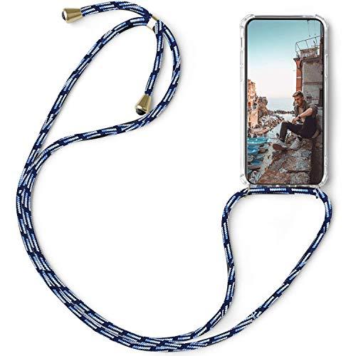 FullProtecter Handykette kompatibel mit Sony Xperia L4 Band zum umhängen Kordel Handyhülle mit Kette,Necklace Silikon Hülle Umhängehülle -Schwarz weiß blau