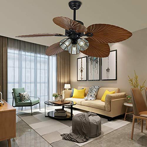 Ventilador de techo de hojas de palma, 52 pulgadas, interruptor de 3 marchas, 5 cuchillas retráctiles