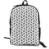 (Extra Small Scale) Watercolor Bunnies Easter Fabric - Grey Adult Premium Travel Backpack, Water-Resistant College School Bookbag, Sport Daypack, Outdoor Rucksack, Laptop Bag for Men&Women