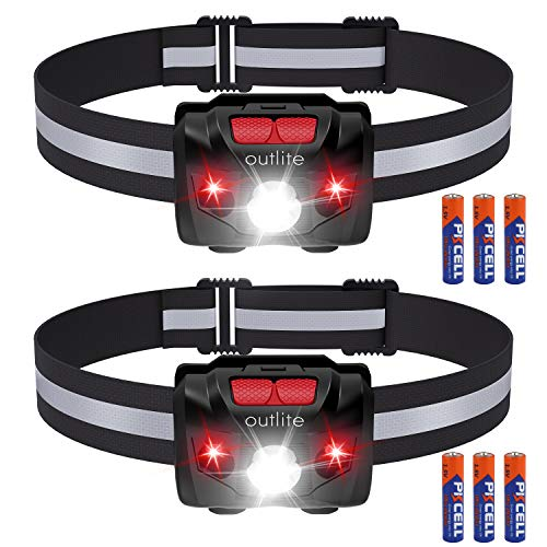 outlite 2 Pack LED Headlamp Flashlight with AAA Battery, Reflective Strip Head Lamp with Dual Switch for Red Light & White Light, Waterproof Head Lamp for Running, Camping, Hiking, Climbing, Fishing