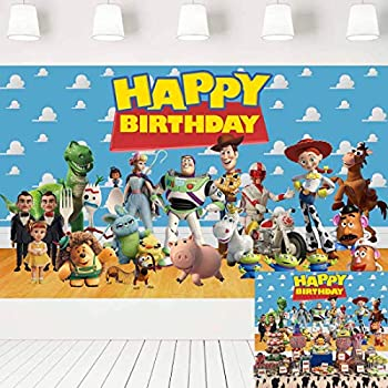 Toy Story Birthday Party Supplies Photography Backdrops Birthday Party Cake Table Decoration Banner Background Photo Studio Props 5x3ft LF-334