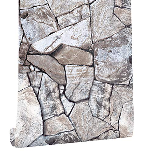 HaokHome 620511 大理石 石のレンガ 壁紙シール はがせる レンガ 壁ステッカー カーキ/灰色 簡単タイプ 家の装飾 45cmx6m