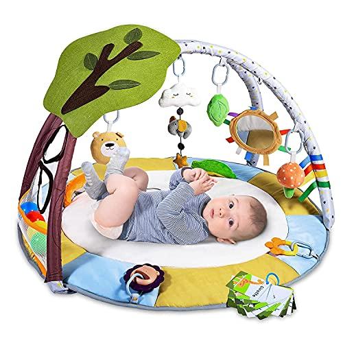 Krabbeldecke für Baby mit 9 Spielzeug, Lupantte Spieldecke mit Spielbogen für Sensorische und Motorische Fähigkeiten, Spieldecke Baby mit 2 Beißring und Bälle, Größer, Dicker, für Baby 0-12 Monat
