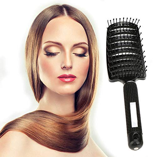 Blow Dry Brush Curved and Vented Detangling Massage Brushe Daily Use for Conditioning/Improve Hair Texture Straight Barber Comb Vent Perfect Hair Brush for Long Thick Curly Hair Wet and Dry Detangler