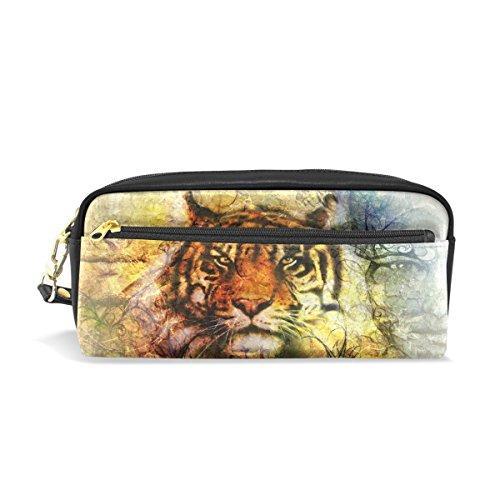 Trousse à crayons, tigre vintage imprimé Voyage Maquillage Pouch Grande capacité étanche Cuir 2 compartiments pour filles garçons femmes Hommes