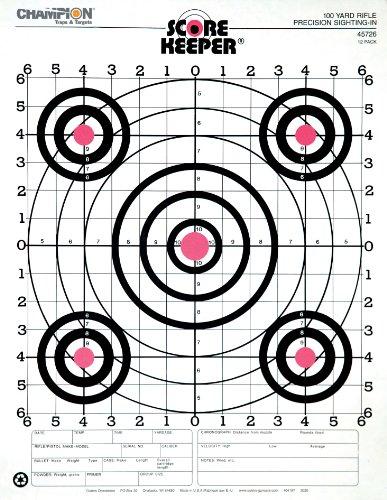Champion Range and Target Score Keeper Fluorescent Orange Bull 100yard Sightin Rifle Target Pack of 12 45726