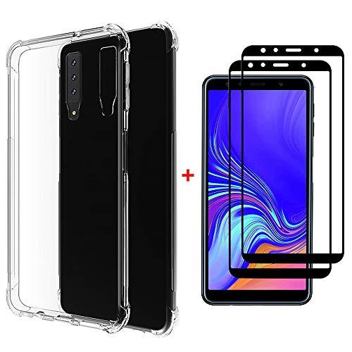 Coque Samsung Galaxy A7 2018 Ttimao Souple Transparente TPU Silicone Conception de Coussin d'air Protection Contre Les Gouttes Ultra Mince Housse Protection+2*Protecteur D'écran en Verre Trempé