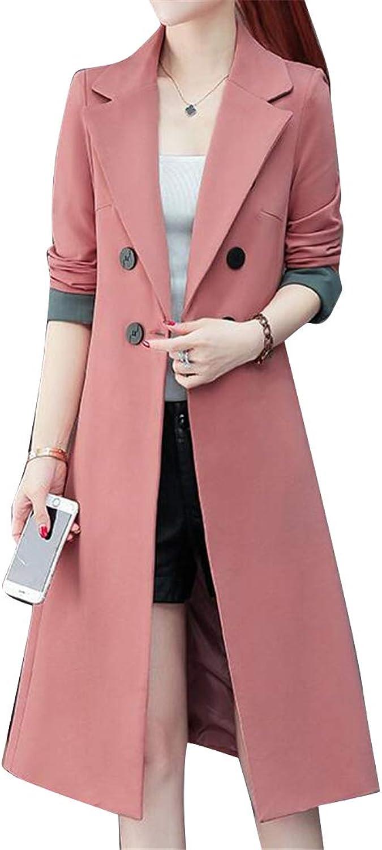 SHOWNO Womens Double Breasted Slim Longline Winter Lapel Trench Coat Windbreaker Jacket Outerwear
