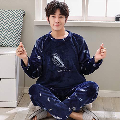 DUJUN Männer weichen Pyjama, Dicke Korallen Samt Pyjama, Flanell Langarm-Anzüge, Freizeitkleidung für zu Hause, eine Vielzahl von optionalen A23 L