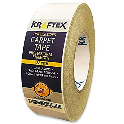 Carpet Tape for Rugs, Mats, Pads, Runners [Anti Slip Non Skid Technology] Indoor Gripper Tape Double Sided Adhesive [Works on Any Floor] Grips Hardwood, Tile, Laminate Floor