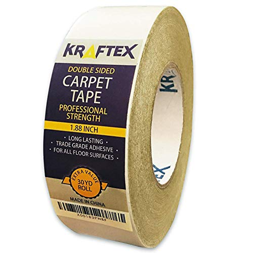 Double Sided Carpet Tape 90ft/30Yrd Roll Double Sided Tape Heavy Duty for Rugs, Mats, Pads & Runners. Rug Tape for Hardwood Floors, Tile, Laminate. 2 Sided Unique Adhesive Heavy Duty Double Stick Tape