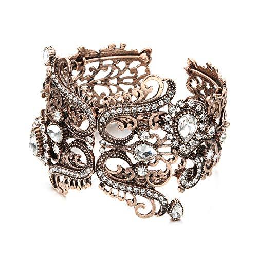 Vintage Indische Breite Weiße Kristallblume Manschette Armreif Für Frauen Antik Gold Feder Armband Türkischen Hochzeitsschmuck
