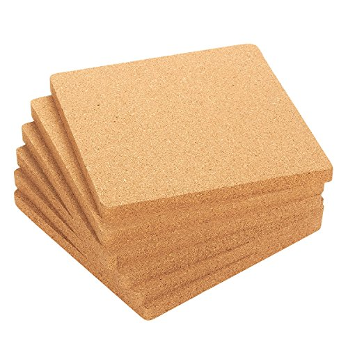 Juvale 6-Pack Cork Trivet Set - Square Corkboard Placemats Kitchen Hot Pads For Hot Pots, Pans, And Kettles, 7 X 7 X 0.5 Inches (17.8 x 17.8 x 1,3 cm)