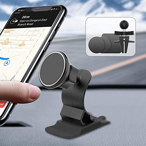 ORYCOOL Soporte magnético para teléfono móvil para coche, soporte universal para teléfono móvil con clip de ventilación y base adhesiva, compatible con iPhone 11 Pro Max/XS/XR/X, Samsung Huawei, etc.