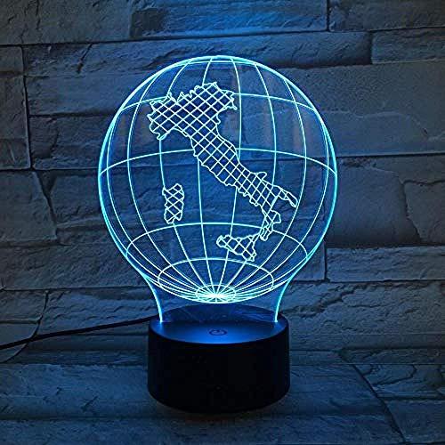 Nationale kaart Italië nachtlampje LED 3D illusie touch sensor 7 kleurverandering kinderen baby geschenken globe tafellamp bureau