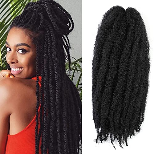 """6 Packs Marley Twist Braiding Hair 18 inch Afro Kinky Curly Hair Extension for Twists Synthetic Fiber Marley Braids Hair for Butterfly Locs Natural Black (#1B, 18"""")"""